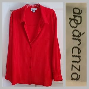 APPARENZA | 3X Red Long Sleeve Sheer Button Blouse